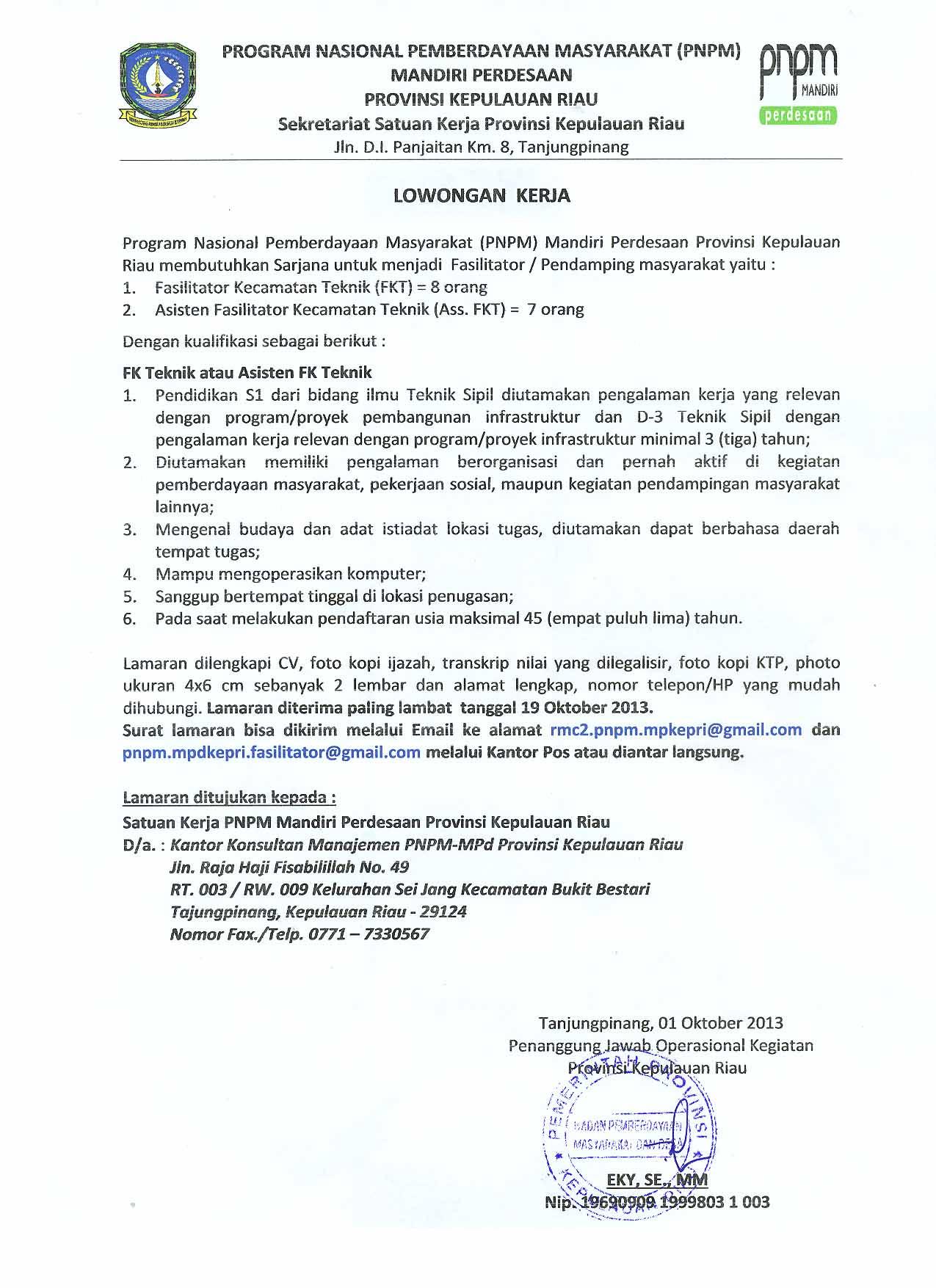 Lowongan Kerja PNPM Mandiri Perdesaan Kepri Oktober 2018 ...